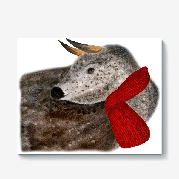 Холст «Новогодний пятнистый бык в красном шарфе»
