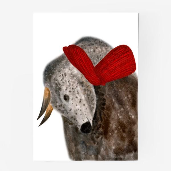 Постер «Новогодний пятнистый бык в красном шарфе»