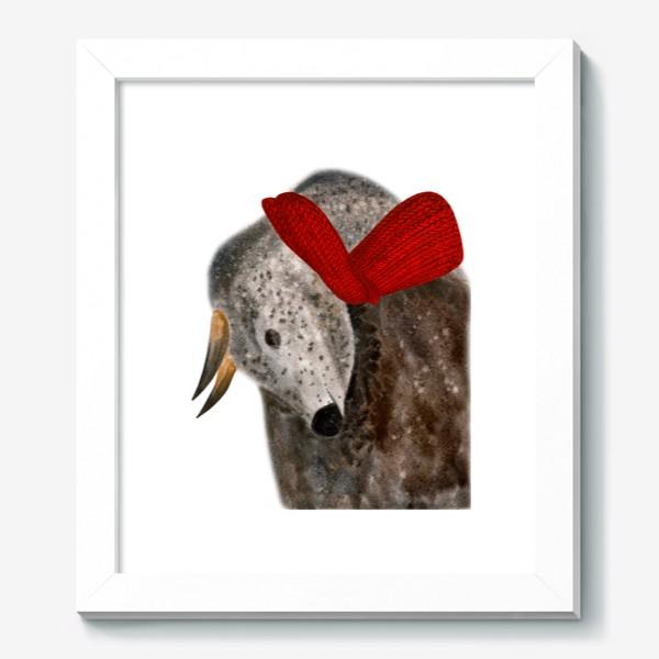 Картина «Новогодний пятнистый бык в красном шарфе»