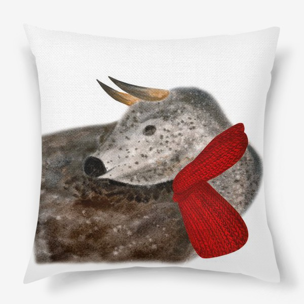 Подушка «Новогодний пятнистый бык в красном шарфе»