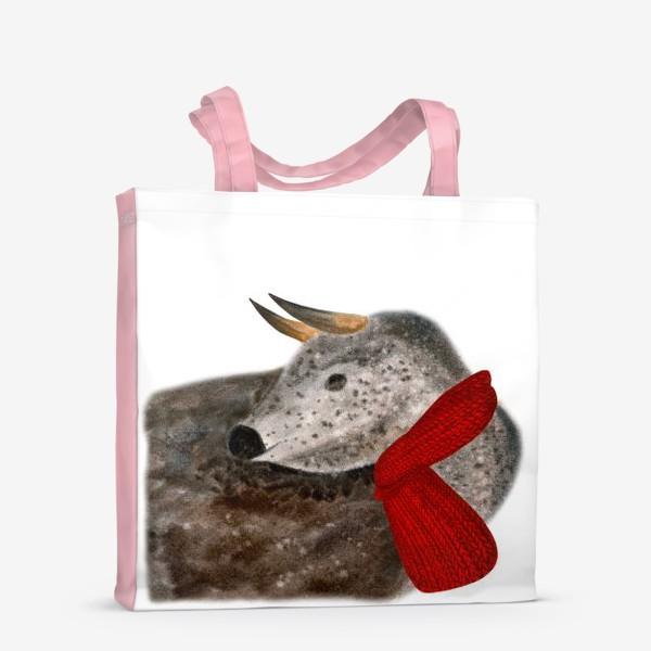 Сумка-шоппер «Новогодний пятнистый бык в красном шарфе»
