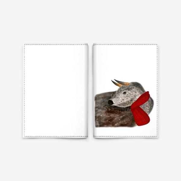 Обложка для паспорта «Новогодний пятнистый бык в красном шарфе»