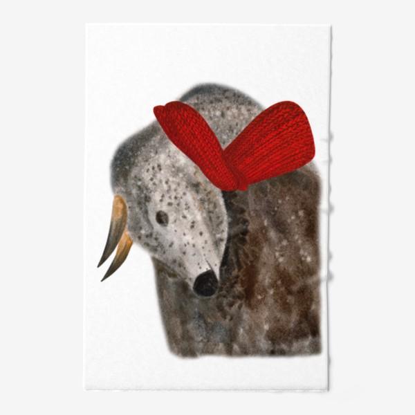 Полотенце «Новогодний пятнистый бык в красном шарфе»