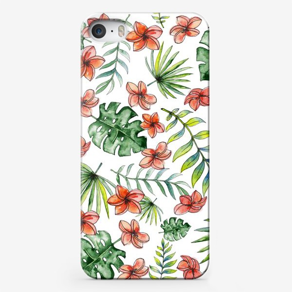Чехол iPhone «Seamless watercolor tropical leaves and flowers pattern»