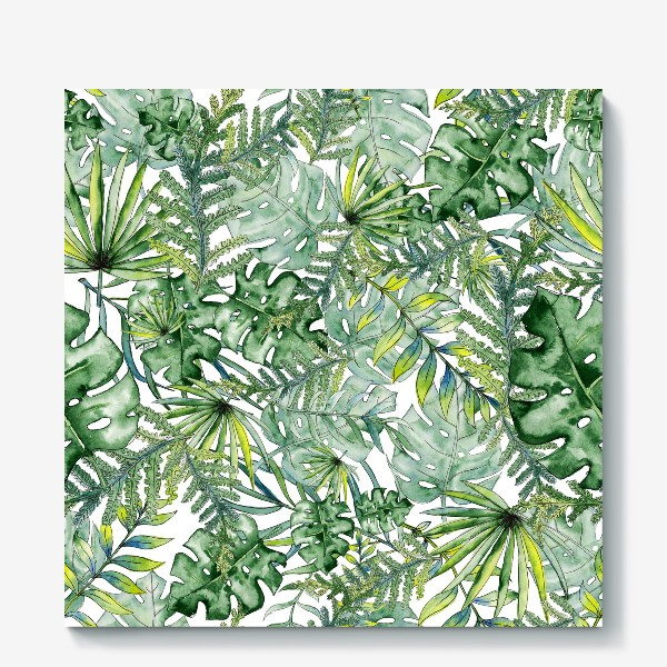 Холст «Seamless watercolor tropical leaves pattern»