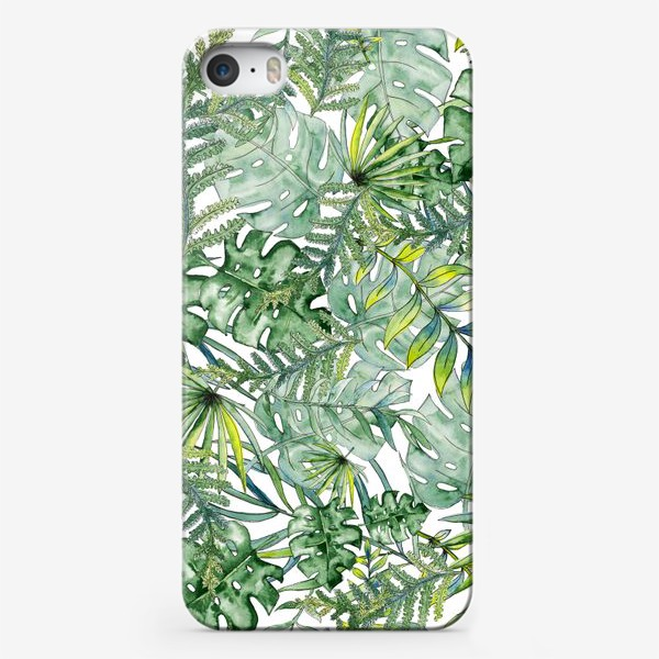 Чехол iPhone «Seamless watercolor tropical leaves pattern»