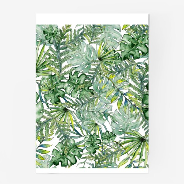 Постер «Seamless watercolor tropical leaves pattern»