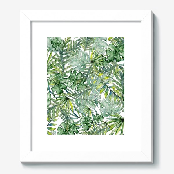 Картина «Seamless watercolor tropical leaves pattern»