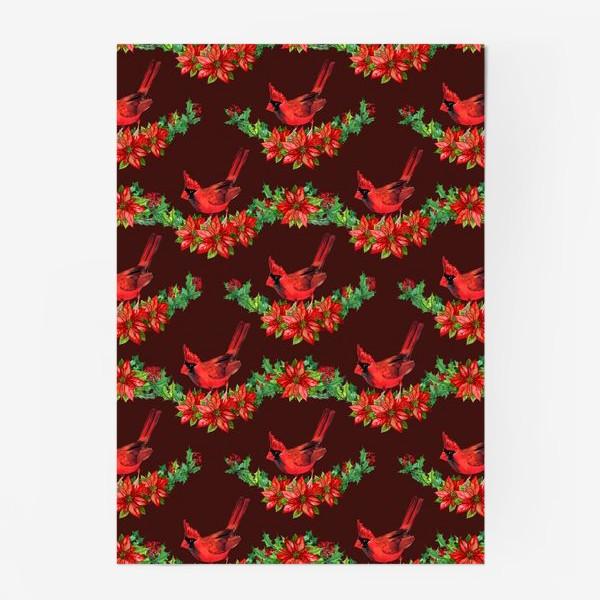 Постер «пуансеттия птица рождество»