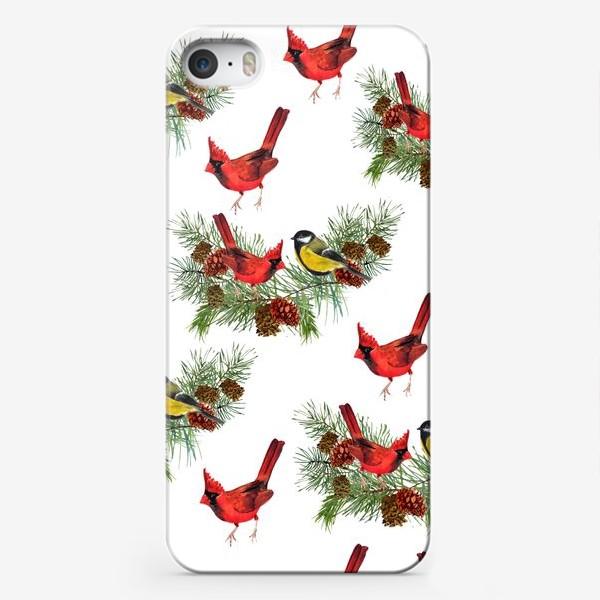 Чехол iPhone «Птица синица, кардинал ель, шишки»
