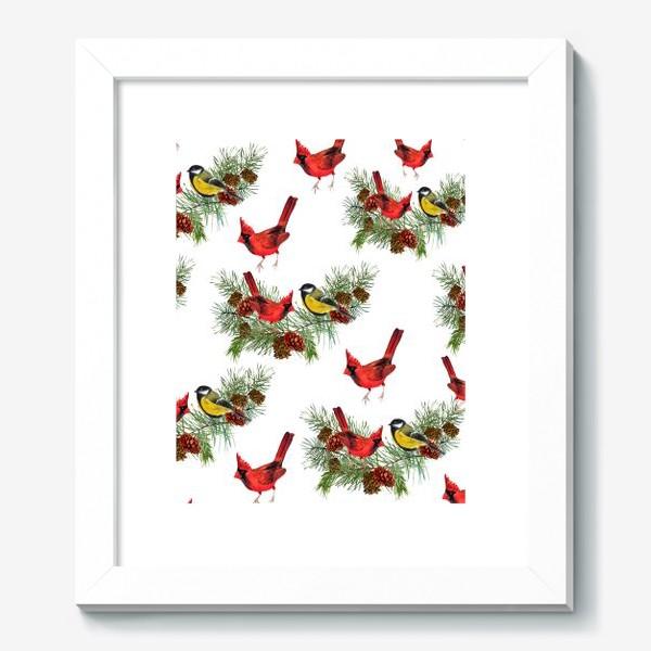 Картина «Птица синица, кардинал ель, шишки»