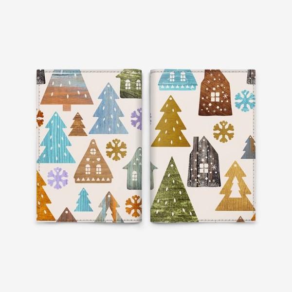 Обложка для паспорта «Деревянные фигурки. Домики, елочки, снежинки. Новый год. Светлый фон.»