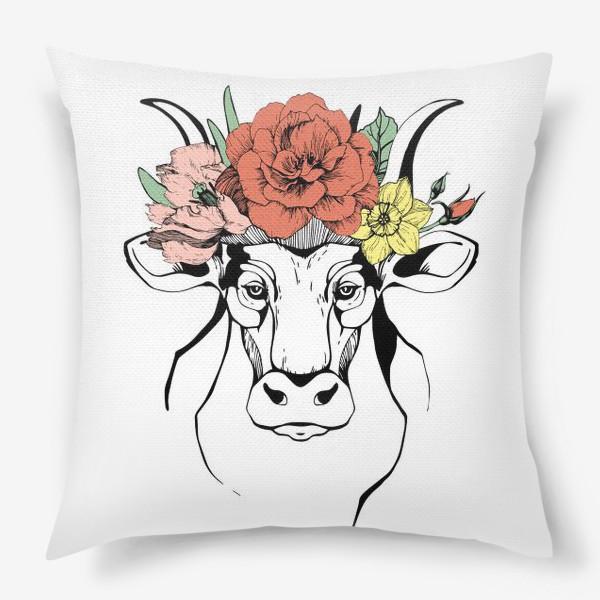 Подушка «Год Быка 2021. Корова в венке»