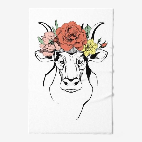 Полотенце «Год Быка 2021. Корова в венке»