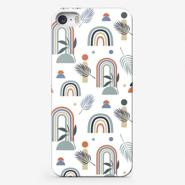 Чехол iPhone «узор с пастельными радугами и тропическими листьями на белом  фоне в стиле бохо»