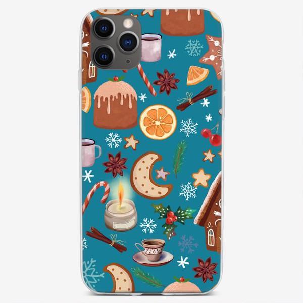 Чехол iPhone «имбирные домики, пряники, карамельная трость, апельсин, корица, пудинг, пряности, бадьян, снежинки, ягоды, остролист.»
