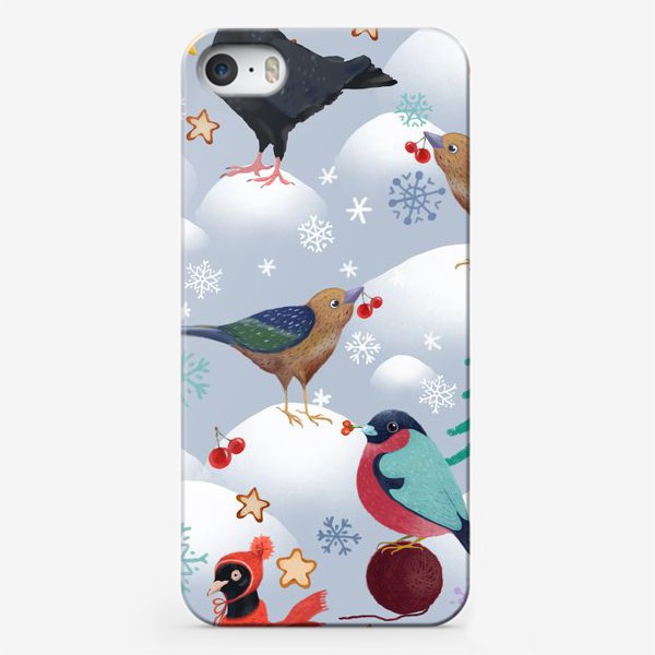 Чехол iPhone «Снегири, голуби в шапках и лесные птички. Зима, елки, снег, снежинки, ягоды, звезды.»