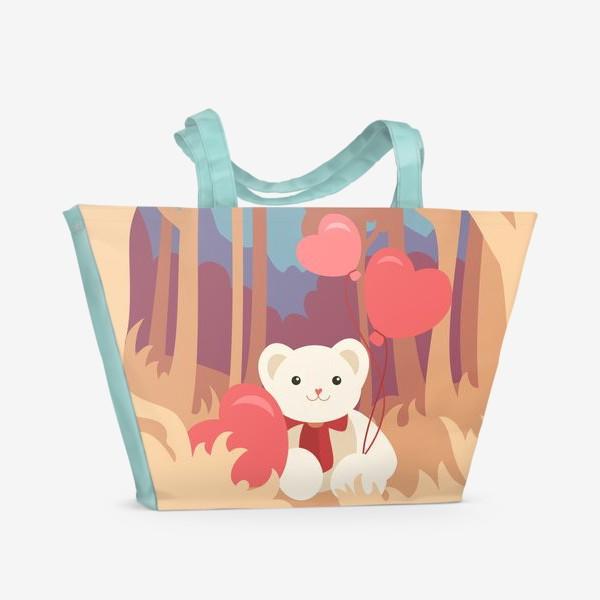 Пляжная сумка «Медвежонок в лесу»