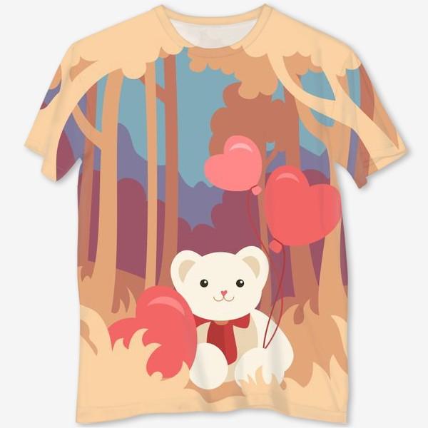 Футболка с полной запечаткой «Медвежонок в лесу»