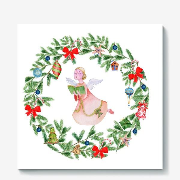 Холст «Christmas wreath with angel, fir branches.»