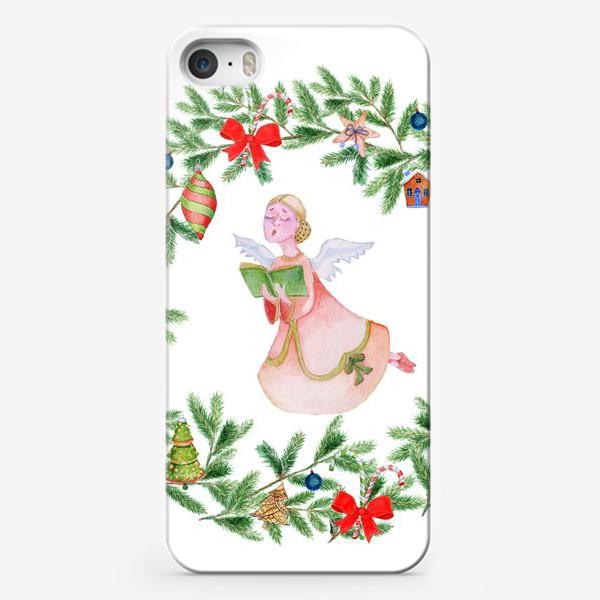 Чехол iPhone «Christmas wreath with angel, fir branches.»