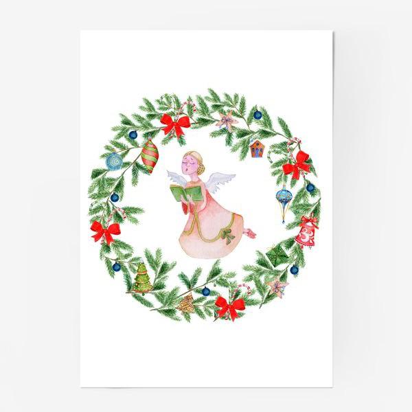 Постер «Christmas wreath with angel, fir branches.»