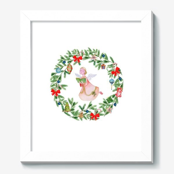 Картина «Christmas wreath with angel, fir branches.»