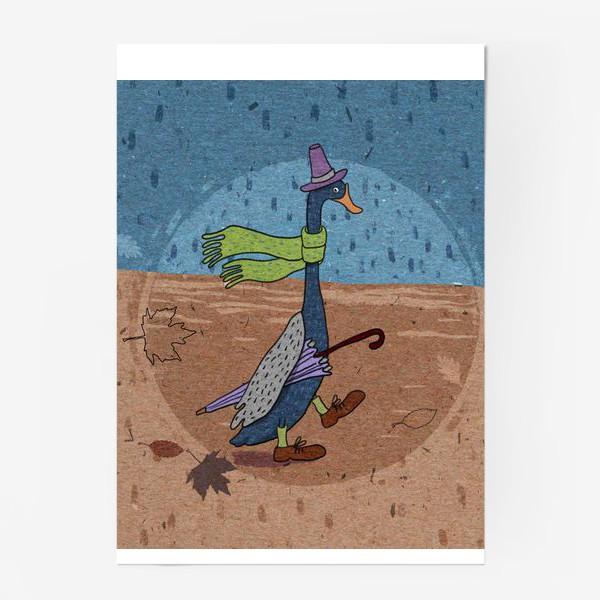 Постер «Гусь в шляпе с зонтиком. Крафт тема.»
