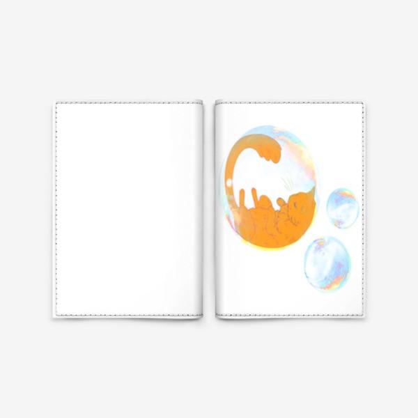 Обложка для паспорта «Котик в пузыре, рыжий»