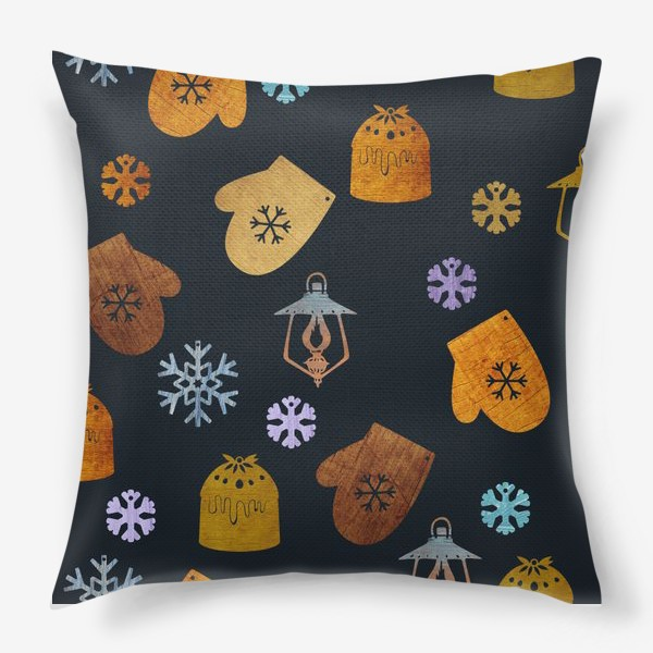 Подушка «Новогодние рукавицы, снежинки, фонари, пудинг. Стилизация под деревянные фигурки»