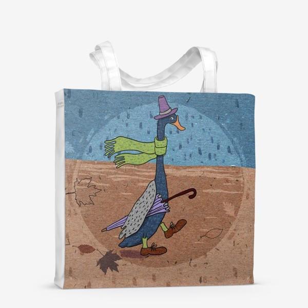 Сумка-шоппер «Гусь в шляпе с зонтиком. Крафт тема.»