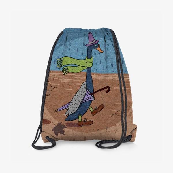 Рюкзак «Гусь в шляпе с зонтиком. Крафт тема.»