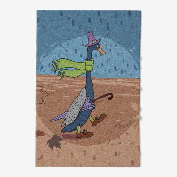 Полотенце «Гусь в шляпе с зонтиком. Крафт тема.»