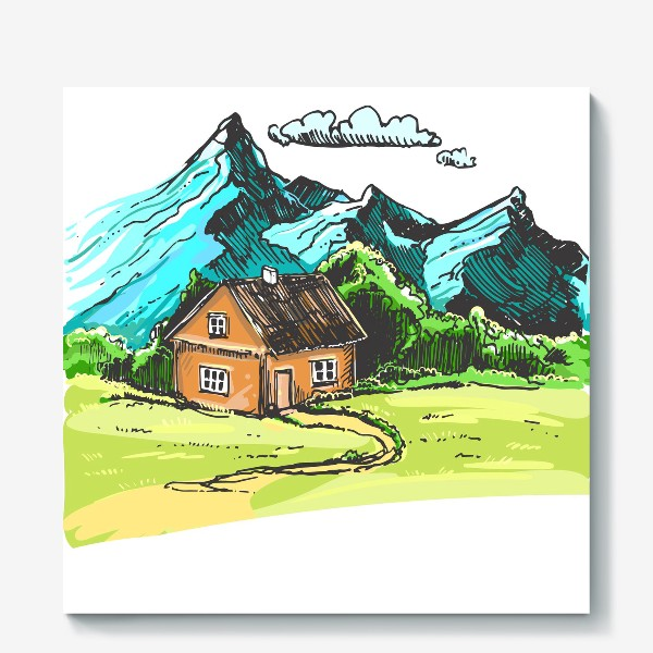 Холст «домик в горах на зеленой поляне.»