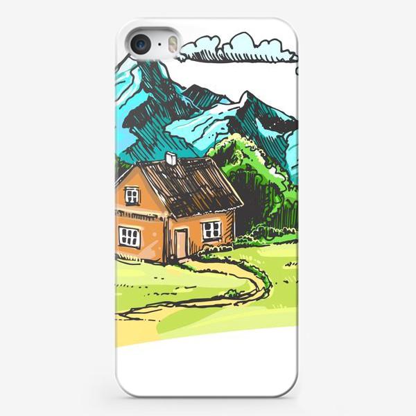 Чехол iPhone «домик в горах на зеленой поляне.»