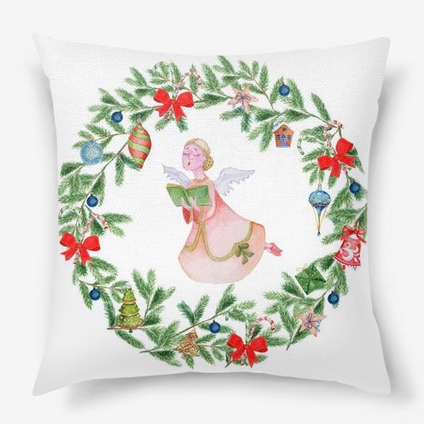 Подушка «Christmas wreath with angel, fir branches.»