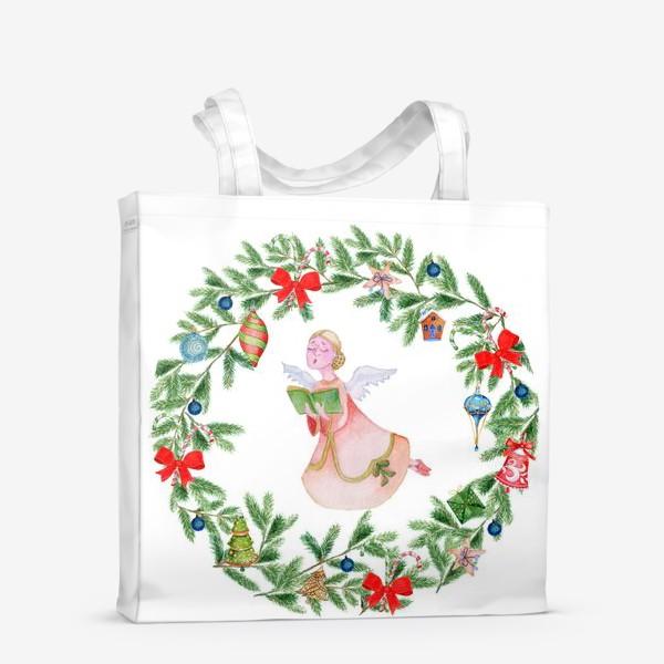 Сумка-шоппер «Christmas wreath with angel, fir branches.»