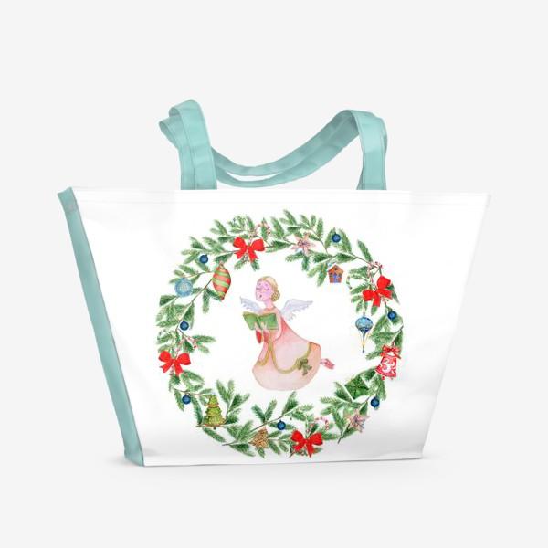 Пляжная сумка «Christmas wreath with angel, fir branches.»