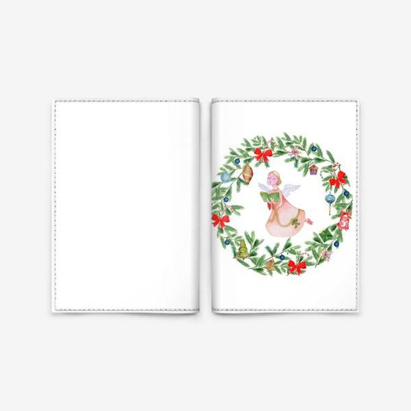 Обложка для паспорта «Christmas wreath with angel, fir branches.»
