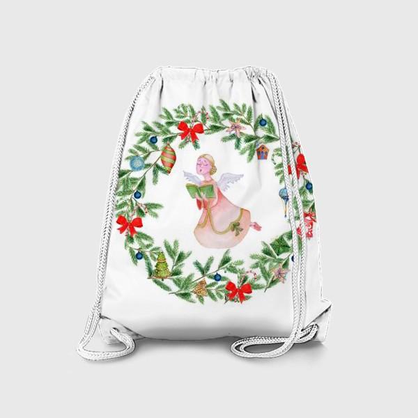 Рюкзак «Christmas wreath with angel, fir branches.»