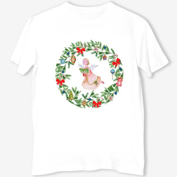 Футболка «Christmas wreath with angel, fir branches.»