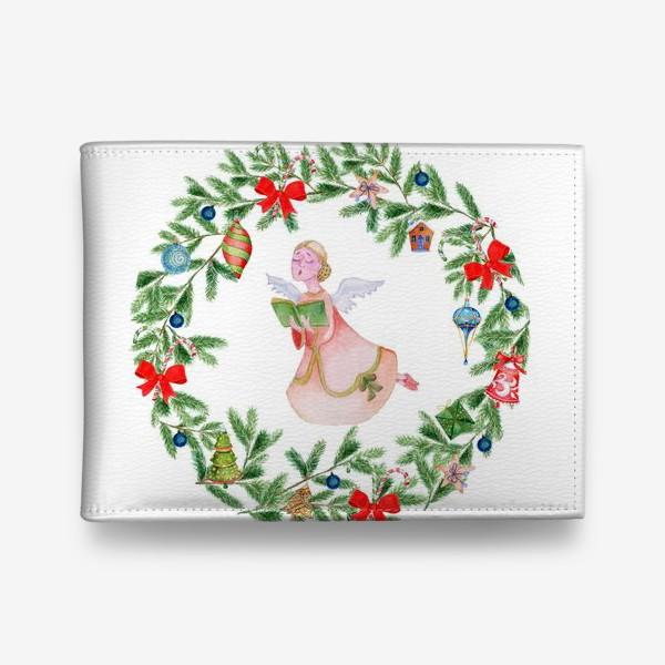 Кошелек «Christmas wreath with angel, fir branches.»