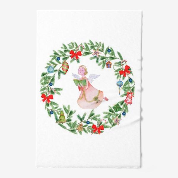 Полотенце «Christmas wreath with angel, fir branches.»