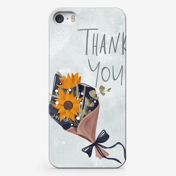Чехол iPhone «Надпись спасибо тебе с букетом цветов. На нежном голубом фоне»