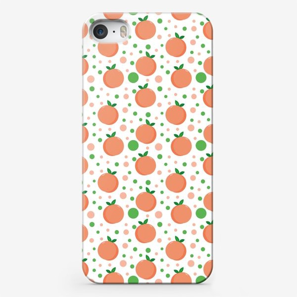 Чехол iPhone «персики. нежный летний фруктовый паттерн»