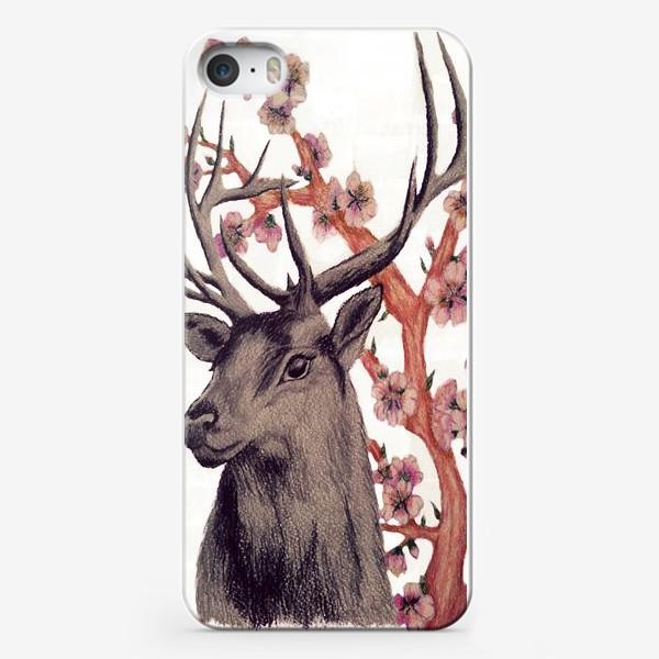 Чехол iPhone «Олень и Сакура»