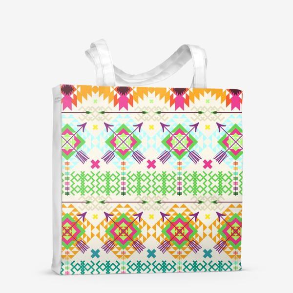 Сумка-шоппер «Племенной паттерн со стрелами и геометрическими узорами»
