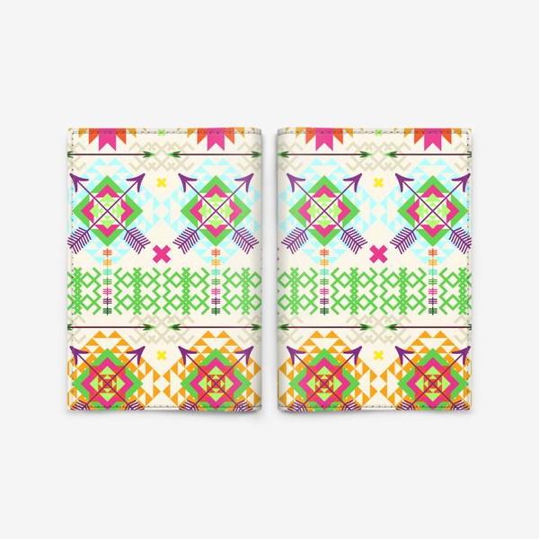 Обложка для паспорта «Племенной паттерн со стрелами и геометрическими узорами»