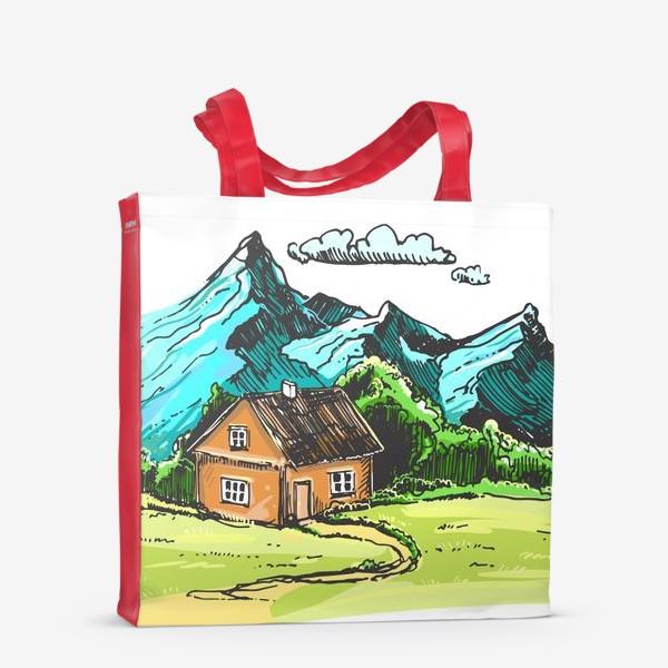 Сумка-шоппер «домик в горах на зеленой поляне.»