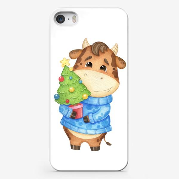 Чехол iPhone «Акварельный бык с ёлкой, милый новогодний принт»